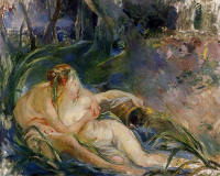 Berthe-Morisot-two-nymphs-embracing